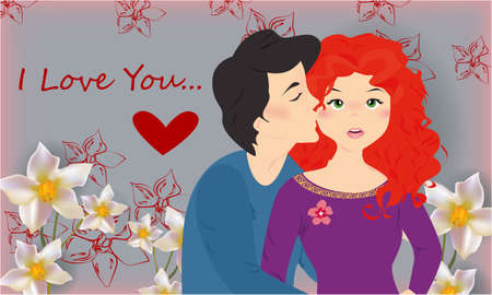 I love you banner , greeting card, illustration for Valentines day with a happy couple, flowers and a heart on a gray background