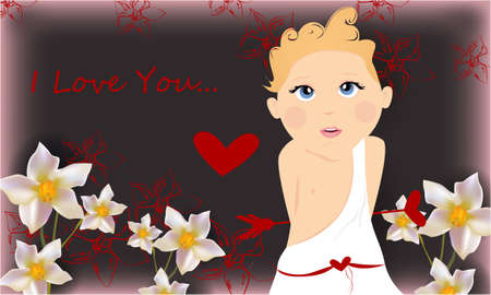 I love you banner, greeting card, illustration for Valentines day with cute, funny cartoon cupid with an arrow, flowers and a heart on a gray background Stock Photo