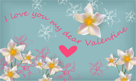 I love you me dear Valentine banner , greeting card, illustration for Valentines day with flowers and a heart on a blue background