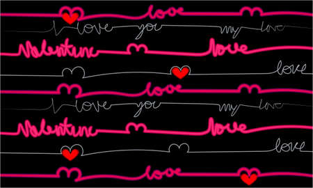 I love you banner , greeting card, illustration for Valentines day on abstract background