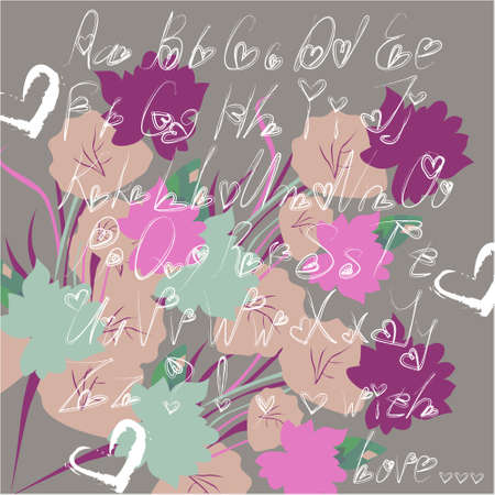 Alphabet letters for your decoration, greeting cards, illustration, ideal for Valentines day with flowers and a white heart on a gray background