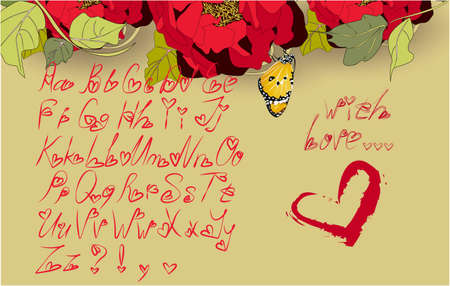 Alphabet letters for your decoration, greeting cards, illustration, ideal for Valentines day with flowers, butterfly and a red heart on a beige background