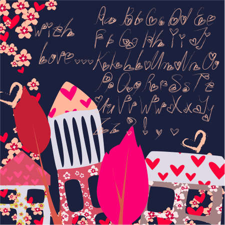 Alphabet letters for your decoration, greeting cards, illustration, ideal for Valentines day with flowers, house, trees, heart on a dark background
