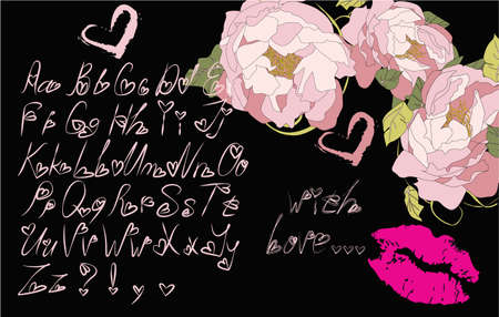 Alphabet letters for your decoration, greeting cards, illustration, ideal for Valentines day with flowers, pink lips and a pink heart on a dark background Illustration
