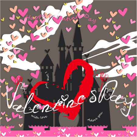 Valentines day banner, greeting card, illustration with cute, cartoon castle, clouds, hearts on a gray background
