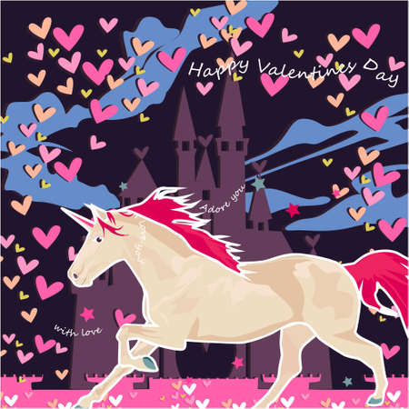 Happy Valentines day banner, greeting card, illustration with cute, cartoon unicorn, clouds, hearts, castle on a dark background Illustration