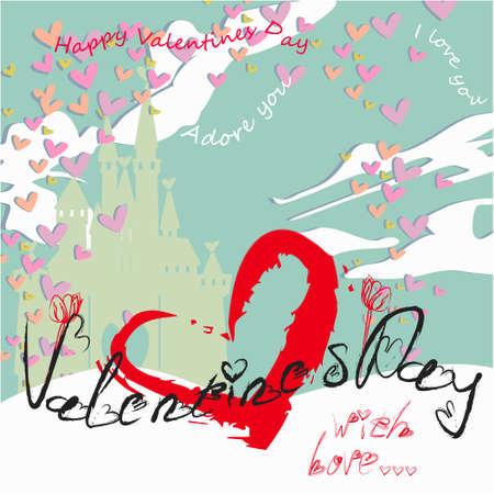 Valentines day banner, greeting card, illustration with cute, cartoon castle, clouds, hearts on a dark background Illustration