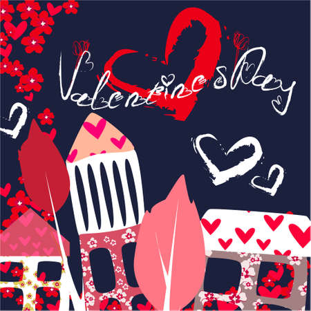 Valentines day banner, greeting card, illustration with cute, cartoon house, trees, flowers on a dark background