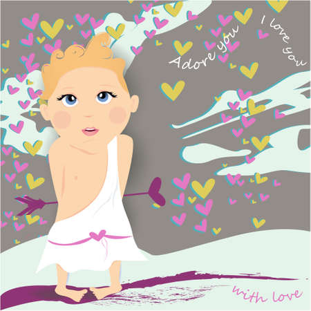 With love banner, greeting card, illustration for Valentines Day with cute, cartoon cupid, clouds, hearts on a gray background Illustration