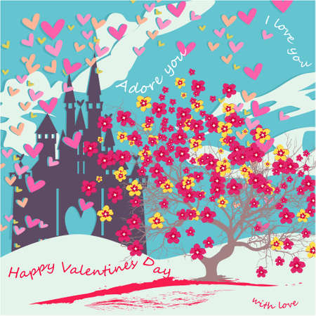 Happy Valentines day banner, greeting card, illustration with cute, cartoon castle, clouds, hearts, tree with flowers on a blue background