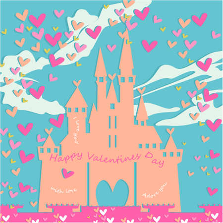 Happy Valentines day banner, greeting card, illustration with cute, cartoon castle, clouds, hearts on a blue background Illustration