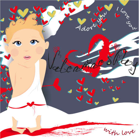 Valentines day banner, greeting card, illustration with cute, cartoon cupid, clouds, hearts on a gray background
