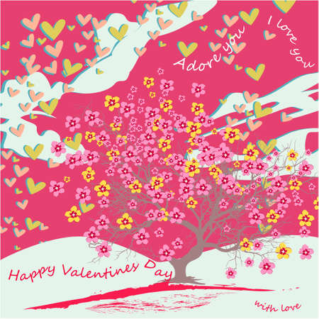 Happy Valentines day banner, greeting card, illustration with cute, cartoon tree with flowers, clouds, hearts on a pink background