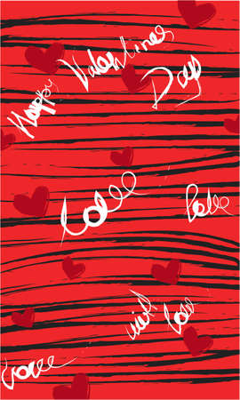 Happy Valentines Day banner, greeting card, illustration with text, hearts on abstract background