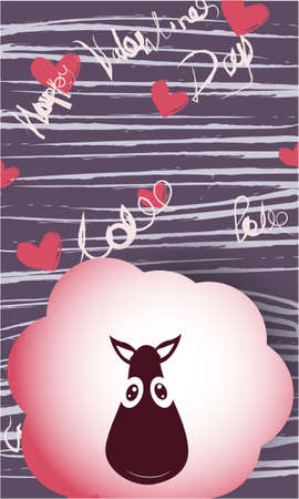 Happy Valentines Day banner, greeting card, illustration with sheep, hearts on abstract background