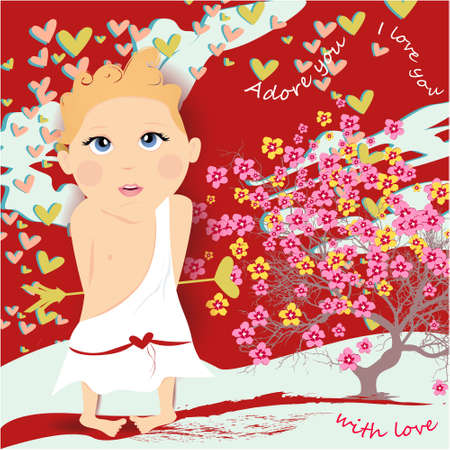 With love banner, greeting card, illustration for Valentines day with cute, cartoon cupid, tree with flowers on a red background