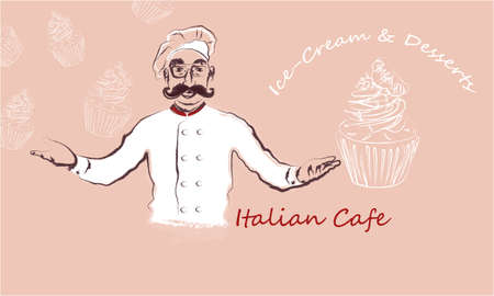 Italian cafe banner with Chef, cakes on a pink background Foto de archivo - 140134755