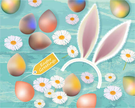 Easter Greetings banner with Easter eggs, ears of a rabbit, tag and daisies on abstract background