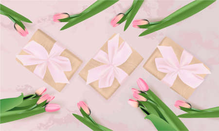 Banner with gift box, pink tulips on abstract background. Spring, Greeting card