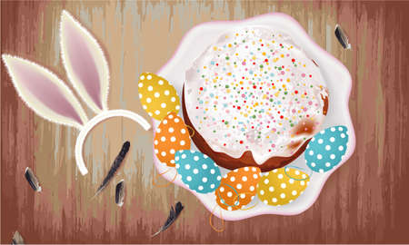 Easter banner with Easter cake, Easter Eggs, plate, feathers, bunny ears on a wooden background