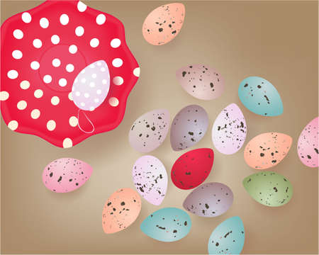 Easter banner with Easter Eggs, plate on abstract background. Greeting card Zdjęcie Seryjne