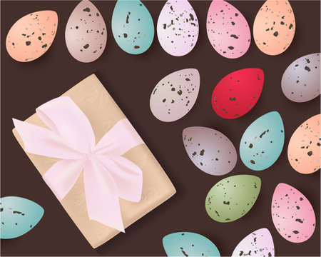 Easter banner with Easter Eggs, gift box on a brown background. Easter Greeting card