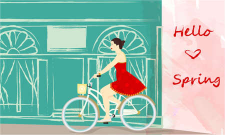 Hello Spring banner with cute girl on a bike near the shop window, building silhouette