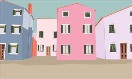 Illustration with isometric houses. Collection of colorful houses, buildings