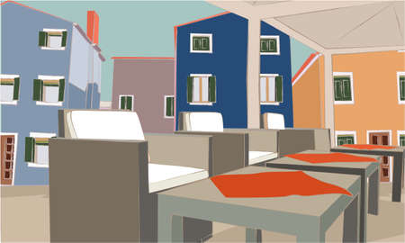 Cafe concept. Isometric illustration with tables and chairs under the open sky. Houses. Collection of colorful houses, buildings