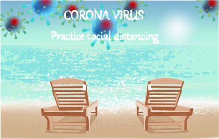 Corona Virus, practice social distancing banner with beach view, beach chairs, white medical face mask, text, Coronavirus Bacteria