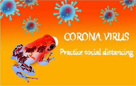 Corona Virus, practice social distancing banner with frog in a white medical face mask, text, Coronavirus Bacteria Archivio Fotografico