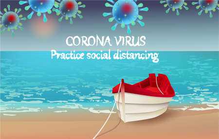 Corona Virus, practice social distancing banner with beach view, red boat, text, Coronavirus Bacteria