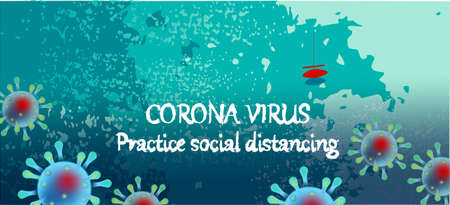 Corona Virus, practice social distancing banner with sea view, red boat, text, Coronavirus Bacteria Archivio Fotografico