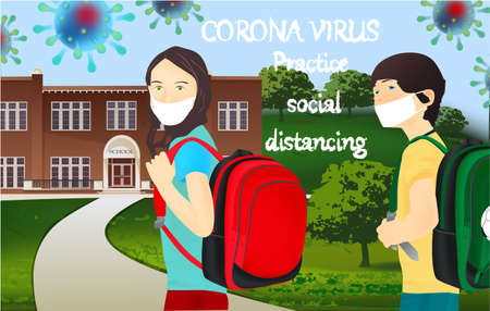 Corona Virus, practice social distancing banner with school building, schoolgirl and schoolboy in a white medical face mask, text, Coronavirus Bacteria