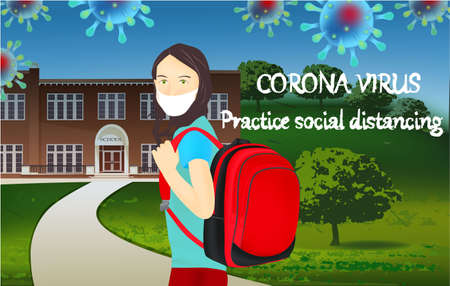 Corona Virus, practice social distancing banner with school building, schoolgirl in a white medical face mask, text, Coronavirus Bacteria Archivio Fotografico