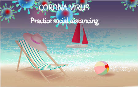 Corona Virus, practice social distancing banner with beach view, yacht, beach chair, hat, ball, text, Coronavirus Bacteria