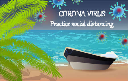 Corona Virus, practice social distancing banner with beach view, boat, palm, text, Coronavirus Bacteria