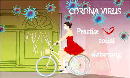 Corona Virus, practice social distancing banner with shop building front view, girl on a bike in a white medical face mask, text, Coronavirus Bacteria