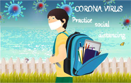Corona Virus, practice social distancing banner with beach view, fence, schoolboy in white medical face mask, text, Coronavirus Bacteria