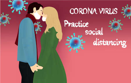 Corona Virus, practice social distancing banner with couple in a white medical face masks, text, Coronavirus Bacteria Archivio Fotografico