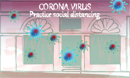 Corona Virus, practice social distancing banner with shop building front view, text, Coronavirus Bacteria