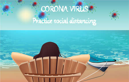 Corona Virus, practice social distancing banner with beach view, boat, beach chair, girl, text, Coronavirus Bacteria Archivio Fotografico