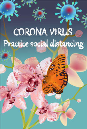 Corona Virus, practice social distancing banner with orchid flower, butterfly, text, Coronavirus Bacteria Archivio Fotografico