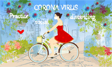 Corona Virus, practice social distancing banner with buildings, greens and flowers, girl on a bike in a white medical face mask, text, Coronavirus Bacteria Archivio Fotografico