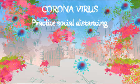 Corona Virus, practice social distancing banner with buildings, greens and flowers, text, Coronavirus Bacteria Archivio Fotografico