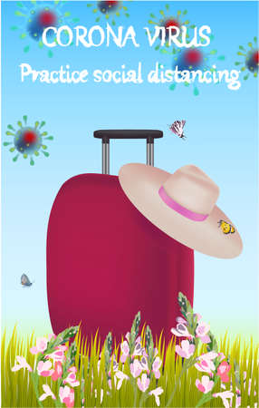 Corona Virus, practice social distancing banner with suitcase, hat, grass, text, Coronavirus Bacteria