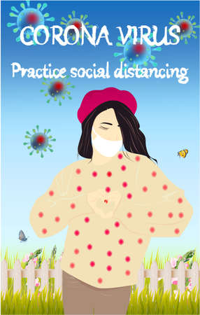 Coronavirus, practice social distancing banner with shop building front view, girl in a white medical face mask, text, Coronavirus Bacteria