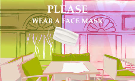 Please wear a face mask banner with street cafe front view, tables and chairs under the open sky, text, white medical face mask. Coronavirus banner. COVID-19 Vettoriali