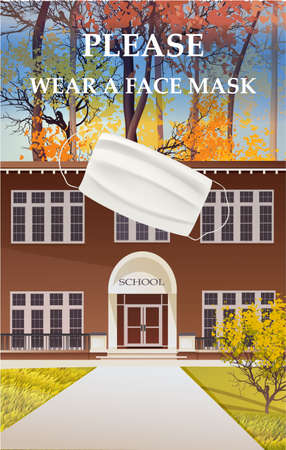 Please wear a face mask banner with school building, schoolboy, text, white medical face mask. Coronavirus banner. COVID-19
