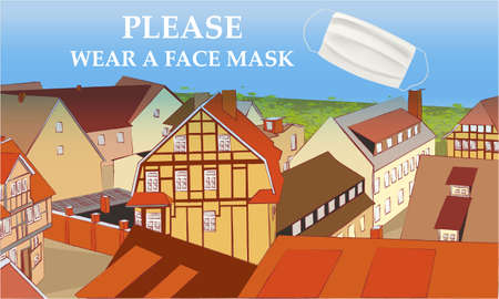 Please wear a face mask banner with buildings, text, white medical face mask. Coronavirus banner. COVID-19